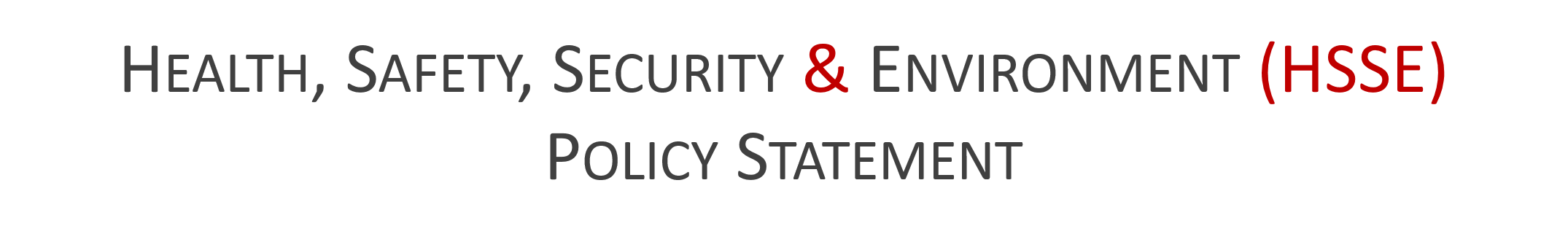 HEALTH, SAFETY, SECURITY AND ENVIRONMENT POLICY STATEMENT